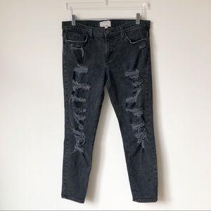 Current/Elliott Black Distressed Jeans